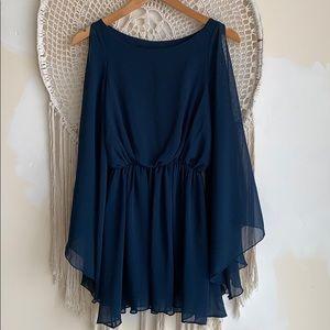 ASOS Dresses - ASOS Petite blue mini angel sleeve dress. size 1